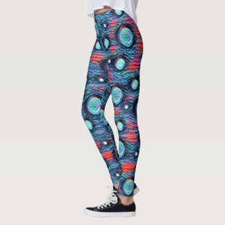 Abstract dots, bubbles pattern, blue colourful art leggings