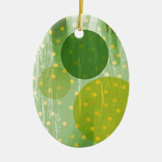 Abstract Dots Design Ceramic Oval Decoration