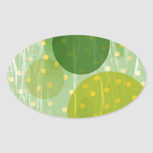 Abstract Dots Design Oval Sticker