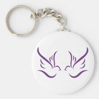 Abstract Doves Basic Round Button Key Ring