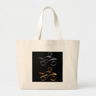Abstract drawing of a motorbike and biker jumbo tote bag