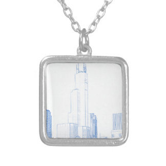 Abstract Drawing of Chicago No1 Silver Plated Necklace