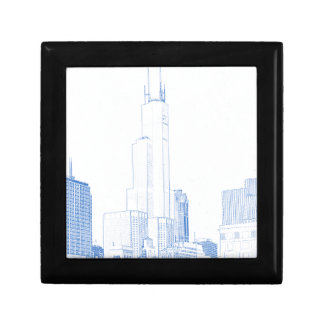 Abstract Drawing of Chicago No1 Small Square Gift Box