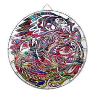 Abstract Eagle Bass and Bear Tribal Art Dartboard