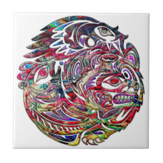 Abstract Eagle Bass and Bear Tribal Art Small Square Tile