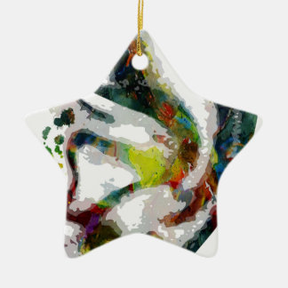 Abstract Ear Watercolour Print Ceramic Ornament