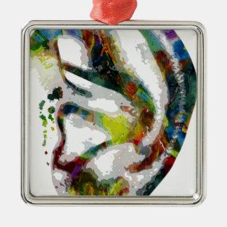 Abstract Ear Watercolour Print Metal Ornament