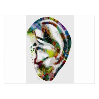 Abstract Ear Watercolour Print Postcard