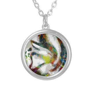 Abstract Ear Watercolour Print Silver Plated Necklace