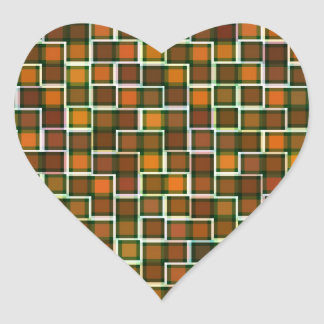 Abstract Earth Tone Squares Pattern Heart Stickers