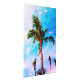 Abstract Effect Tropical Palm Trees Canvas Print