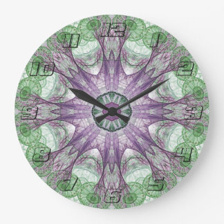 Abstract Electric Jellyfish Cool Fractal green Large Clock