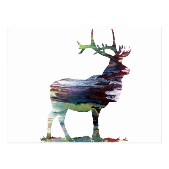 Abstract Elk silhouette Postcard