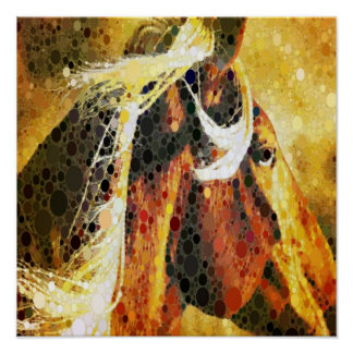 Abstract equestrian western country horse poster