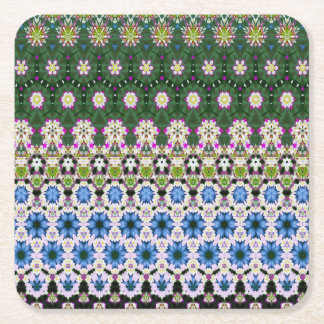 Abstract ethnic floral pattern No13 Square Paper Coaster