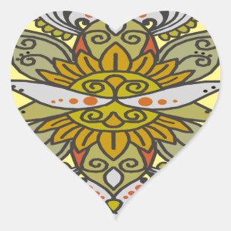 abstract ethnic flower heart sticker