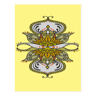 abstract ethnic flower postcard