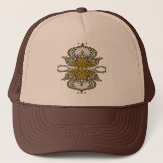 abstract ethnic flower trucker hat