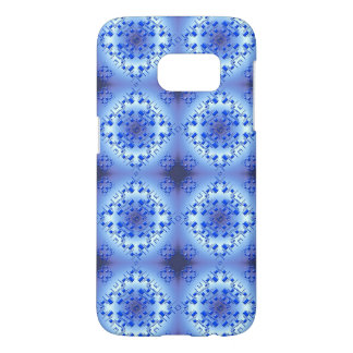 Abstract ethnic geometric blue pattern