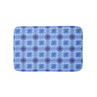 Abstract ethnic geometric blue pattern bath mat