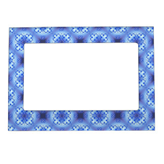 abstract ethnic   geometric  blue pattern. magnetic picture frame