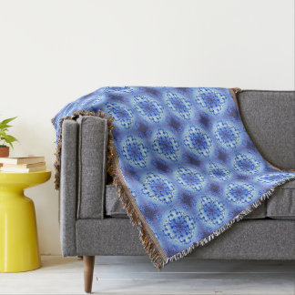 Abstract ethnic geometric blue pattern throw blanket