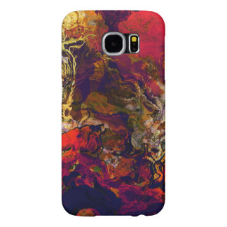 Abstract Evening Red, Cream and Midnight Blue Art Samsung Galaxy S6 Cases