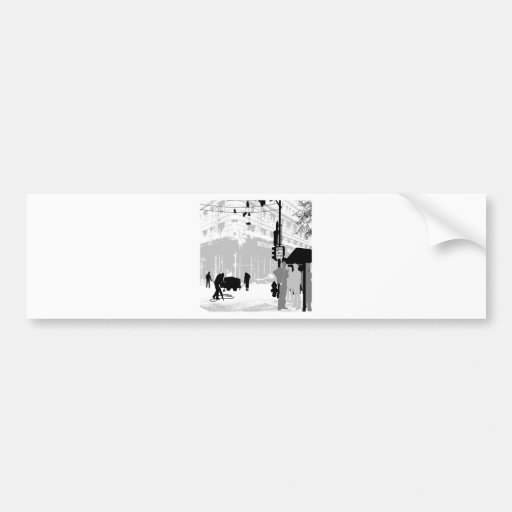 Abstract Everyday City Life Bumper Stickers