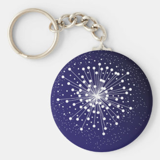 Abstract Explosion Basic Round Button Key Ring