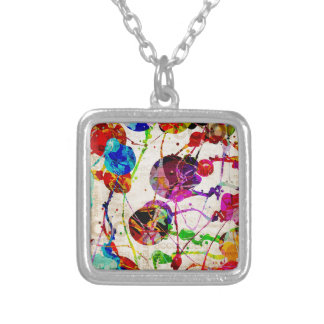 Abstract Expressionism 2 Silver Plated Necklace