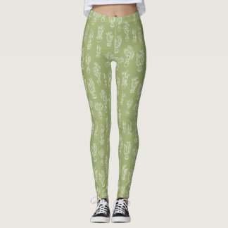 Abstract Expressionism Cactus Line Art Pattern Leggings