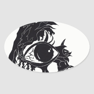 Abstract Eye Design (Stickers) Oval Sticker