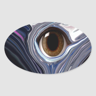 Abstract eye in wonderful colors of blues oval stickers