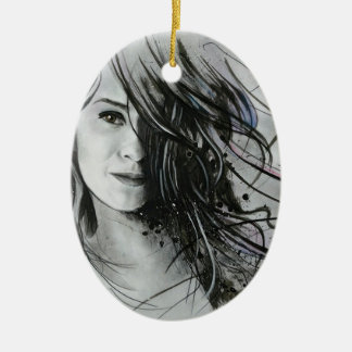 Abstract face ceramic oval decoration