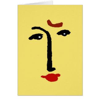 Abstract Face In Yellow Card