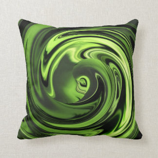 Abstract Face of Innocence in Chartreuse Pillow Throw Cushions