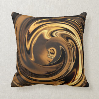 Abstract Face of Innocence in Gold Throw Pillow