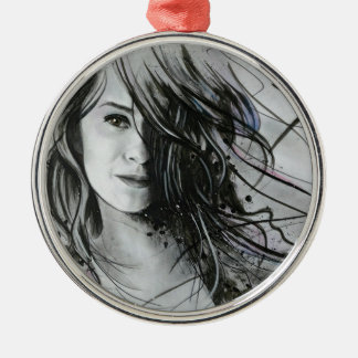 Abstract face Silver-Colored round decoration