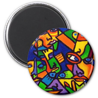 Abstract Faces 4 by Piliero 6 Cm Round Magnet