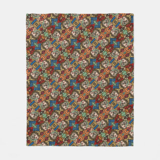Abstract Faces Pattern Fleece Blanket