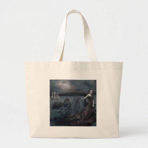 Abstract Fantasy Dark Princess Sea Shore Canvas Bags