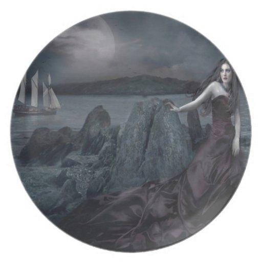 Abstract Fantasy Dark Princess Sea Shore Party Plate