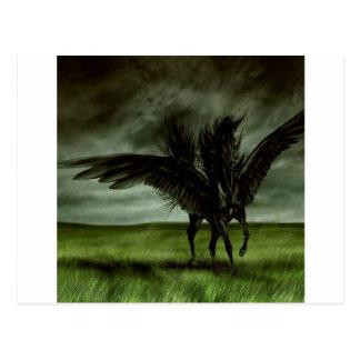 Abstract Fantasy Devils Horse Pegassus Postcard