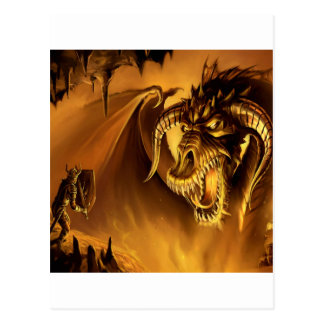 Abstract Fantasy Evil Serpant Fights Postcard
