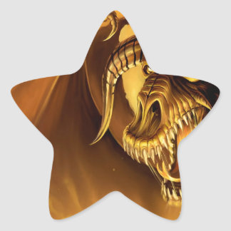 Abstract Fantasy Evil Serpant Fights Star Stickers