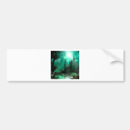 Abstract Fantasy Jade Moonlight Castle Bumper Sticker