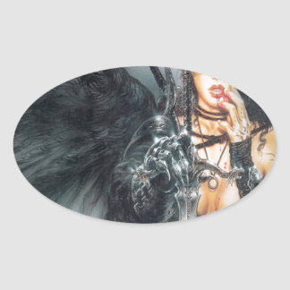 Abstract Fantasy Kiss Or Kill Misstress Oval Sticker
