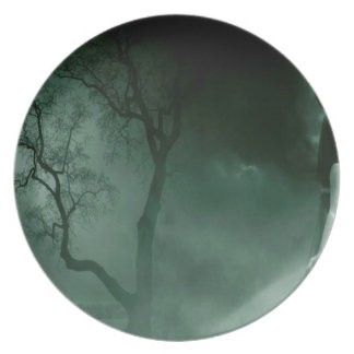 Abstract Fantasy Standing Alone Night Dinner Plate
