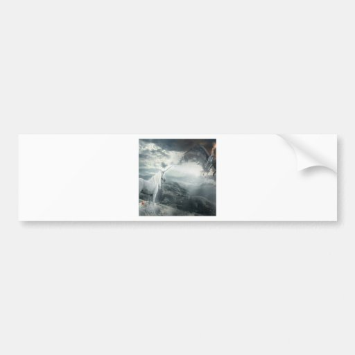 Abstract Fantasy Unicorns Light Vs Dark Bumper Stickers