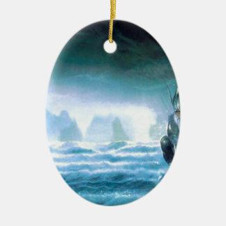 Abstract Fantasy Water God Atlantis Ceramic Oval Decoration